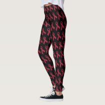 Burgundy Ribbon Custom Leggings