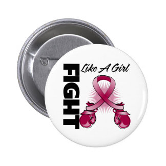 Burgundy Ribbon Fight Like A Girl 2 Inch Round Button