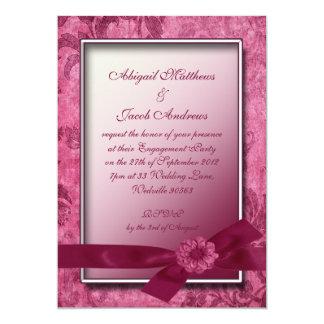 Burgundy Ribbon & Flowers Engagement Invitation