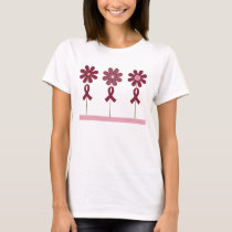 Burgundy Ribbon Flowers T-Shirt