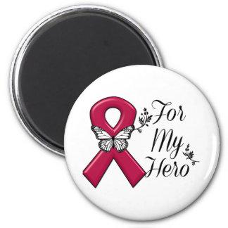 Burgundy Ribbon For My Hero 2 Inch Round Magnet