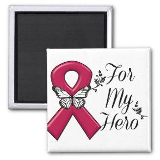 Burgundy Ribbon For My Hero 2 Inch Square Magnet