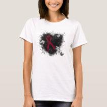 Burgundy Ribbon Grunge Heart T-Shirt