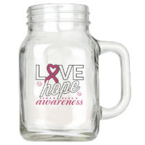 Burgundy Ribbon Love Hope Awareness Mason Jar