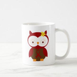 Burgundy Ribbon Owl Awareness Coffee Mugs