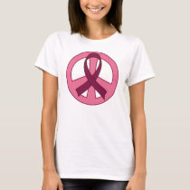 Burgundy Ribbon Peace Sign T-Shirt
