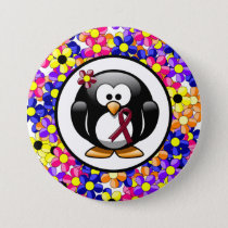 Burgundy Ribbon Penguin Button