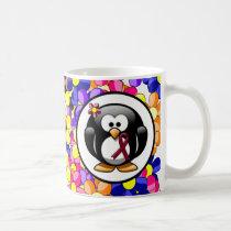 Burgundy Ribbon Penguin Coffee Mug