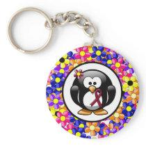 Burgundy Ribbon Penguin Keychain