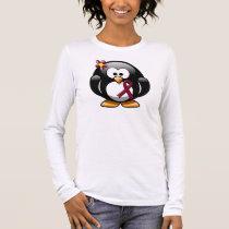 Burgundy Ribbon Penguin Long Sleeve T-Shirt