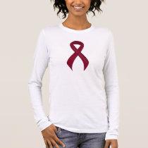 Burgundy Ribbon Support Awareness Long Sleeve T-Shirt