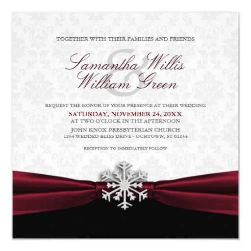 burgundy ribbon winter wedding invitation zazzle With wedding invitations with burgundy ribbon