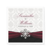 Burgundy Ribbon Winter Wedding Napkin