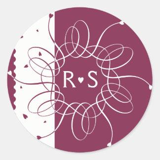 Burgundy Romantic Rosette Classic Round Sticker