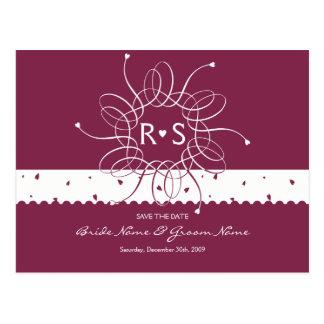 Burgundy Romantic Rosette Save The Date Postcard