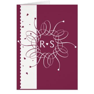Burgundy Romantic Rosette Wedding Ivitation Card