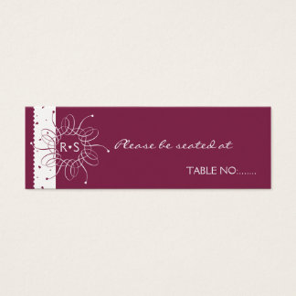 Burgundy Romantic Rosette Wedding Party Place Card