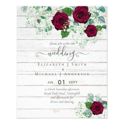 Burgundy Rose Eucalyptus Wedding Flyer