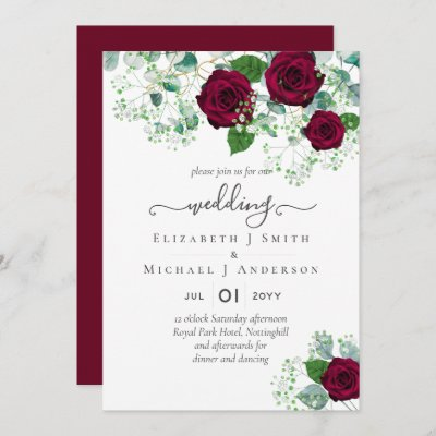 Burgundy Rose Eucalyptus Wedding Invitation