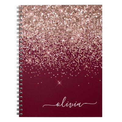 Burgundy Rose Gold Blush Pink Glitter Monogram Notebook