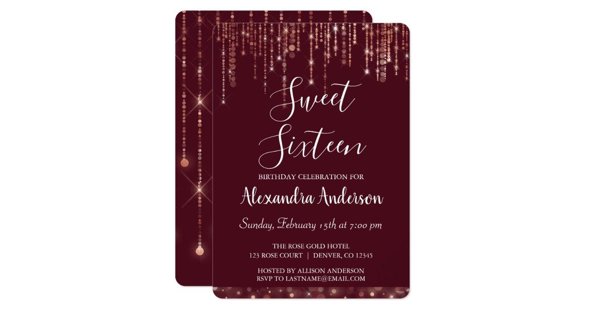 Burgundy Rose Gold Sweet Sixteen Birthday Invitation