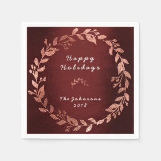 Burgundy Rose Pink Gold Wedding Holidays Paper Napkin