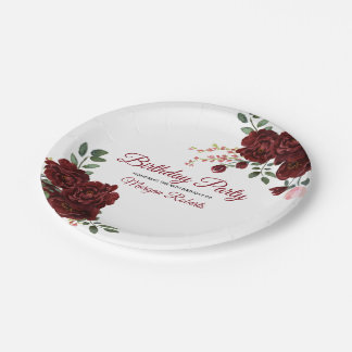 Burgundy Rose Romantic Birthday Party Paper Plate