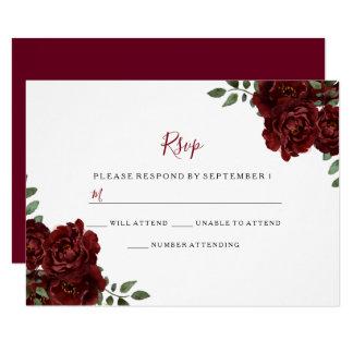 Burgundy Rose Romantic Wedding RSVP Card