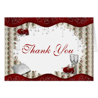 Burgundy Rose  Silver Heart Thank You Card