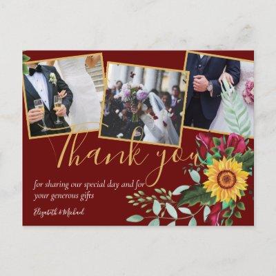 Burgundy Roses Sunflowers PHOTO Thank You Postcard