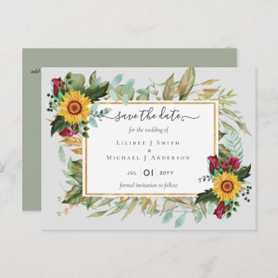 Burgundy Roses Sunflowers Save Change The Date Postcard