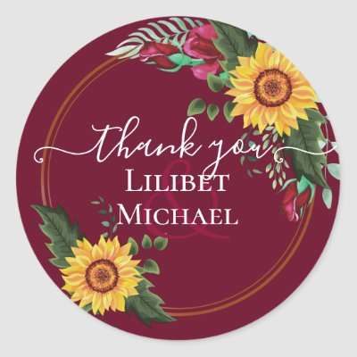 Burgundy Roses Sunflowers Thank You Favor Gift Classic Round Sticker