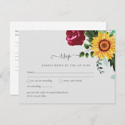 Burgundy Roses Sunflowers Wedding RSVP Postcard