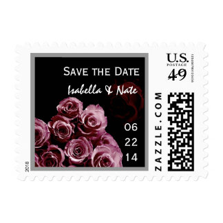 BURGUNDY Roses Wedding Save Date Bride & Groom Postage