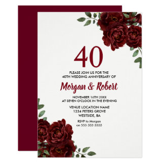 Burgundy Ruby Red Rose 40th Wedding Anniversary Card