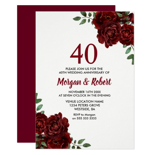Wedding Invitations With Red Roses: Burgundy Ruby Red Rose 40th Wedding Anniversary Invitation