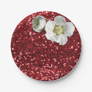 Beach Themed Burgundy Ruby Red White Jasmine Glitter Paper Plate