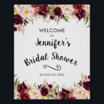 """Burgundy Rustic Floral Bridal Shower Welcome Sign<br><div class=""""desc"""">Burgundy Rustic Floral Bridal Shower Welcome Sign. Add the name of the future bride and the date of the party. You can change the size of the poster and use the """"customize"""" option to change the colors and fonts. Contact me for matching items.</div>"""