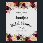 "Burgundy Rustic Floral Bridal Shower Welcome Sign<br><div class=""desc"">Burgundy Rustic Floral Bridal Shower Welcome Sign. Add the name of the future bride and the date of the party. You can change the size of the poster and use the ""customize"" option to change the colors and fonts. Contact me for matching items.</div>"