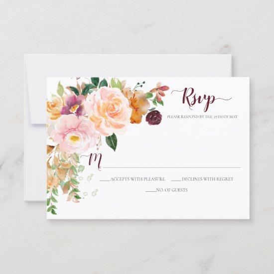 Burgundy Saffron Blush Mauve Corner Bouquet RSVP Card