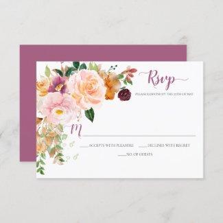 Burgundy Saffron Blush Mauve Rustic Corner Bouquet RSVP Card