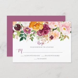 Burgundy Saffron Blush Mauve Rustic Floral RSVP