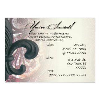 "burgundy/sand ""iron fleur de lis"" 5X7 invitations"