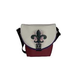 """burgundy/sand"" iron fleur de lis MINI-MESSENGER Messenger Bag"