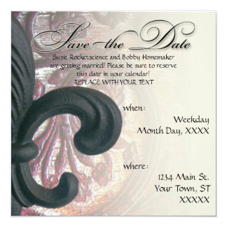 "burgundy/sand ""iron fleur de lis"" SAVE THE DATE Card"