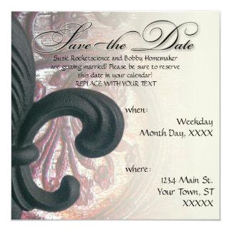 "burgundy/sand ""iron fleur de lis"" SAVE THE DATE Invite"