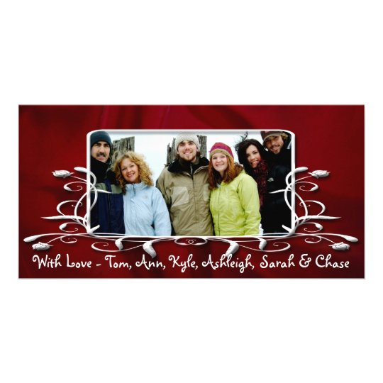 Burgundy Satin Antique Frame Holiday Family Photo Card