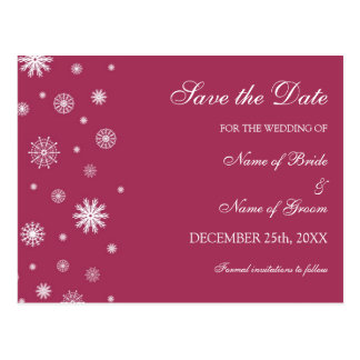 Burgundy Save the Date Winter Wedding Postcard