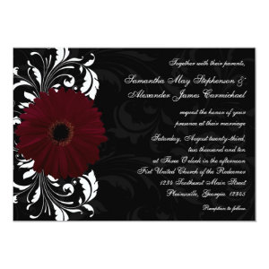 Burgundy Scroll Gerbera Daisy w/Black and White 5x7 Paper Invitation Card