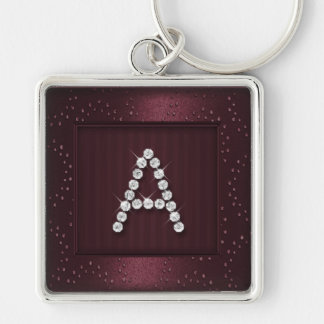Burgundy Shimmer and Sparkle with Monogram Keychain